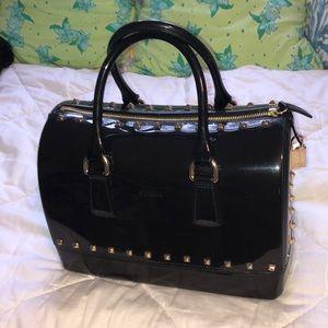 Auth FURLA jelly speedy bag studded black gold